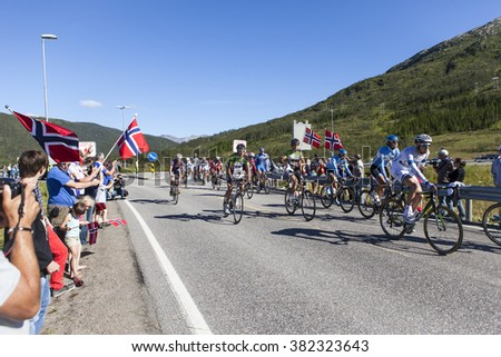 Lofoten, Norway - August 10, 2013; Running from Thursday August 8th to Sunday 11th 2013, the first edition of the Arctic Race of Norway covered a total distance of 705 kilometers. - stock photo