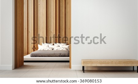 Loft and modern bedroom interior / 3D render interior - stock photo