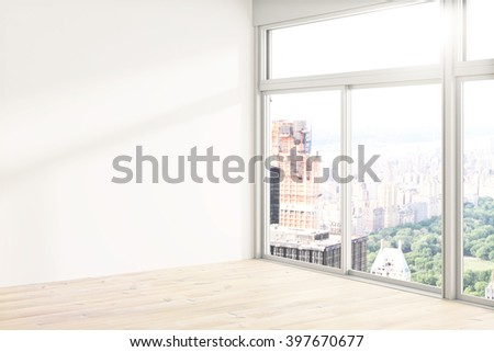Loft interior design with blank white wall, wooden floor and tall windows revealing city view. Mock up - stock photo