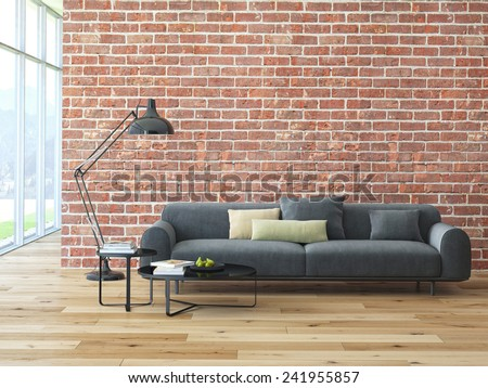 Loft interior with brick wall and coffee table. 3d rendering - stock photo