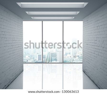 loft office and big window - stock photo