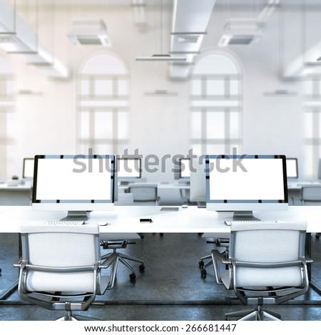 Loft studio. 3d rendering - stock photo