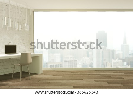 Loft studio design with panoramic window and misty city view. 3D Render - stock photo