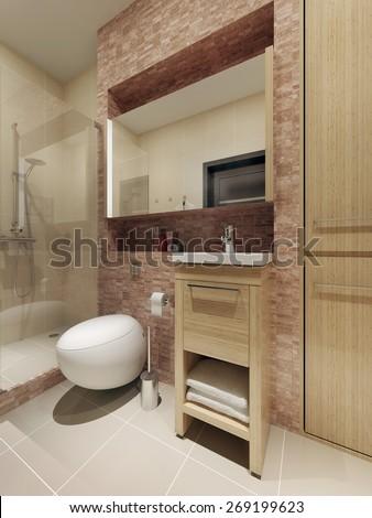Loft style bathroom interior. 3d render - stock photo