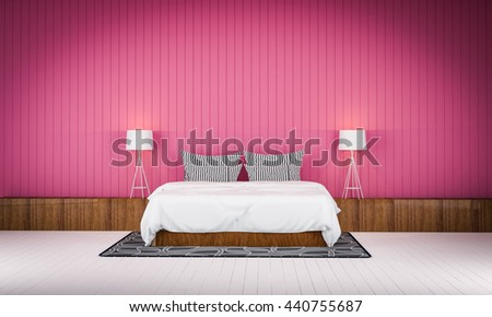 Loft style bedroom pink color wall  3d rendering - stock photo