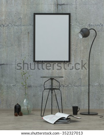 loft  style modern interior background with frame, concrete wall and decoration, 3D render - stock photo