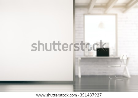 Loft style office with blank white wall with copyspace 3D Render - stock photo