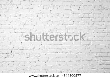 Loft styled white brick wall. - stock photo