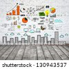 loft with drawing concept city on brick wall - stock photo