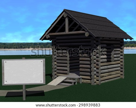 Log cabin, apparently for sale, on green ground against a riverscape with clouds. Blank paper sheet attached to a billboard as copyspace. Rendered 3d design. - stock photo