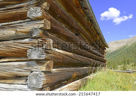 Log cabin close-up detail in mining town, western USA - stock photo