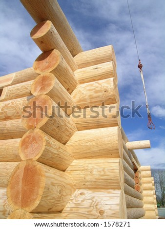 Log Cabin Joint and Crane - stock photo