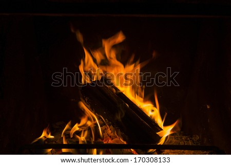 Log fire in a fireplace. - stock photo