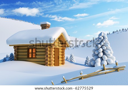 log house and fir-tree in snow-drift mountain landscape - stock photo