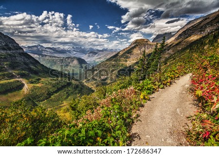 Logan pass looking down the valley - stock photo