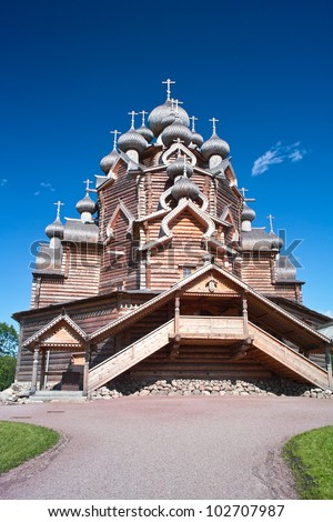 Loghouse Orthodox Church in North Russian style - stock photo