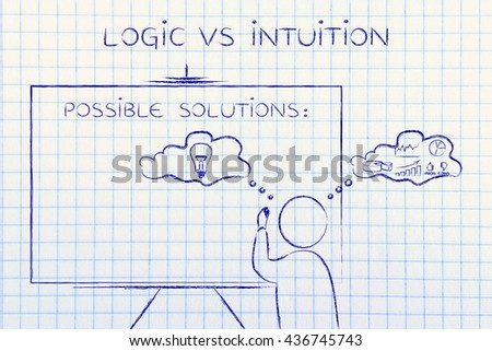logic vs intuition: man writing on blackboard while elaborating creative thoughts (right side of his brain) and analytical reasonings (his left side) - stock photo