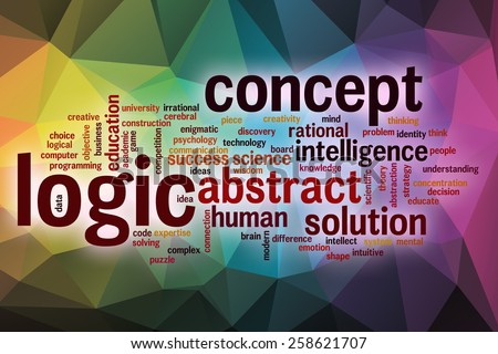Logic word cloud concept with abstract background - stock photo