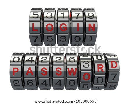 Login and  password as a combination system access. 3d - stock photo
