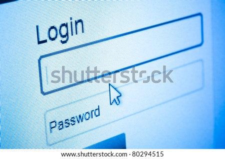 Login and password on computer screen - stock photo