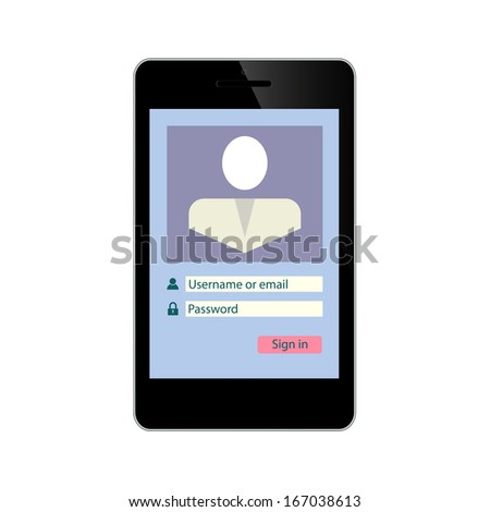 Login and password on Smart Phone Screen internet account application Security Page Illustration isolated on white background - stock photo