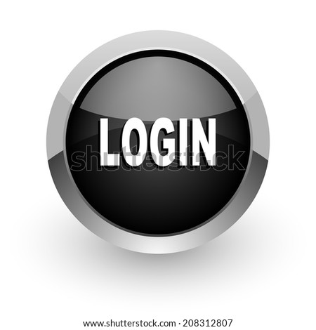 login black chrome glossy web icon - stock photo