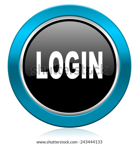 login glossy icon   - stock photo