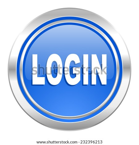 login icon, blue button  - stock photo