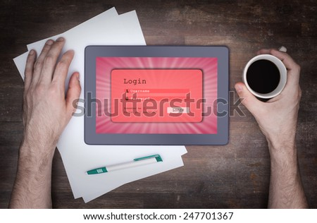 Login interface on tablet - username and password, pink - stock photo