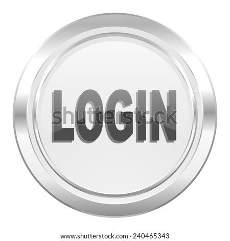 login metallic icon   - stock photo