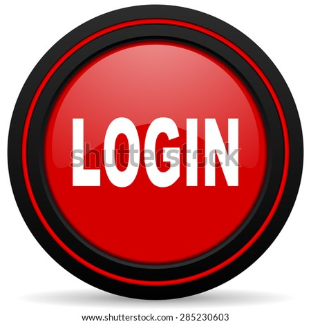 login red glossy web icon  - stock photo
