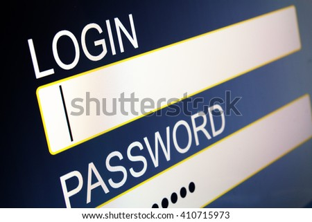 login to access restricted area - stock photo