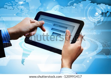Login with email and password on computer screen - stock photo