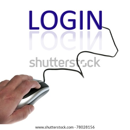 Login word connected with pc mouse - stock photo
