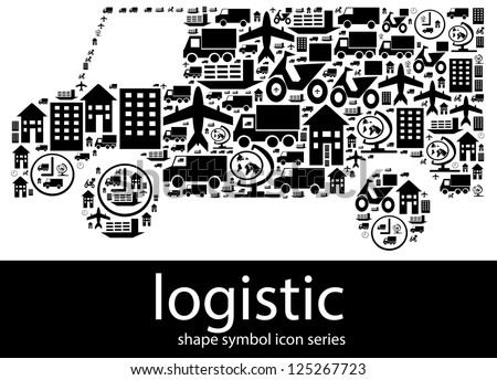 Logistic icon symbols composed in the shape of a delivery van - stock photo