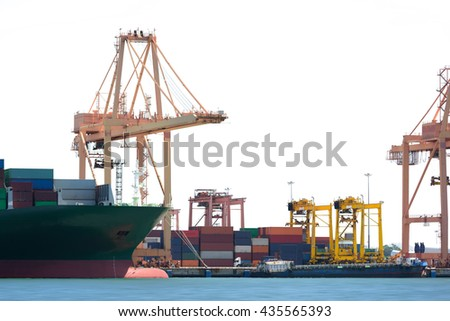 Logistic Import Export background, Cargo ship in the Trade Port isolated on white background, Shipping, Transportation, Container Cargo freight ship with working crane bridge in shipyard. - stock photo