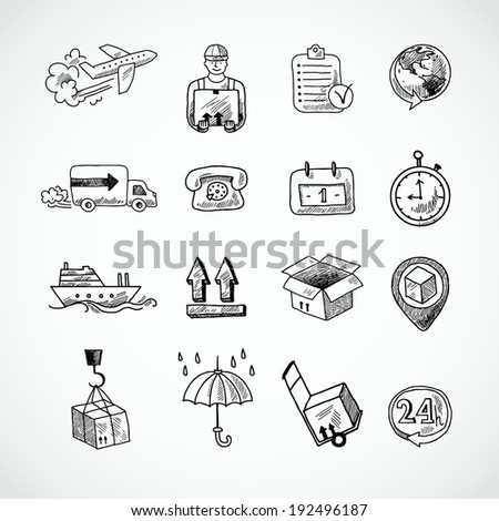 Logistic shipping freight service supply hand drawn doodle icons set isolated  illustration - stock photo