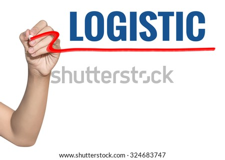 Logistic word write on white background by woman hand holding highlighter pen - stock photo