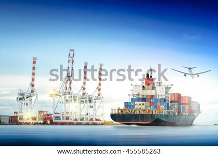 Logistics and transportation of Container Cargo ship and Cargo plane with working crane bridge in shipyard background, logistic import export background and transport industry. - stock photo