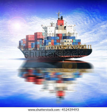 Logistics and transportation of International Container Cargo ship in the ocean with blue sky background, Freight Transportation, Shipping, Nautical Vessel - stock photo
