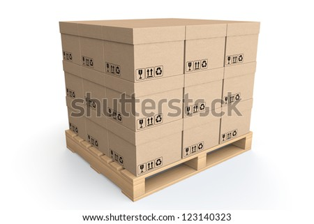 Logistics concept. Cardboard boxes on wooden palette on a white background - stock photo