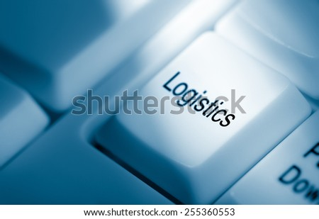 Logistics concept image. Blue keyboard with word logistics on key - stock photo