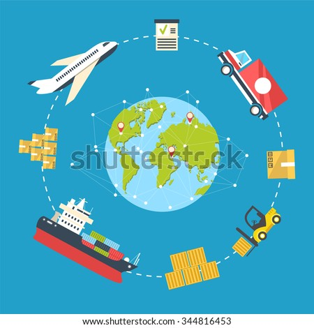 Logistics infographics. Shipping and storage flat concept with sea air and land delivery route and equipment illustration. Flat planet concept for delivery around the world - stock photo
