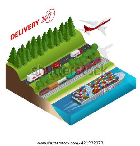 Logistics network.  Air cargo trucking, rail transportation, maritime shipping, cargo trucs. Delivery 24/7. Vehicles designed to carry large numbers cargo. Flat 3d isometric  illustration - stock photo