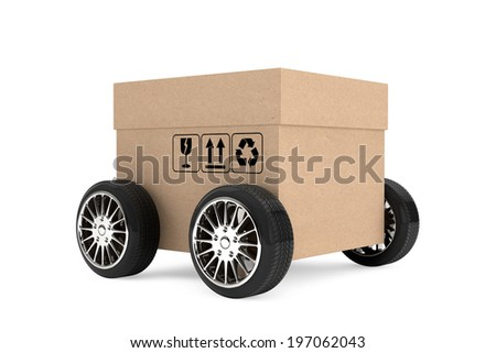 Logistics, Shipping and Delivery concept. Cardboard box with wheels on a white background - stock photo