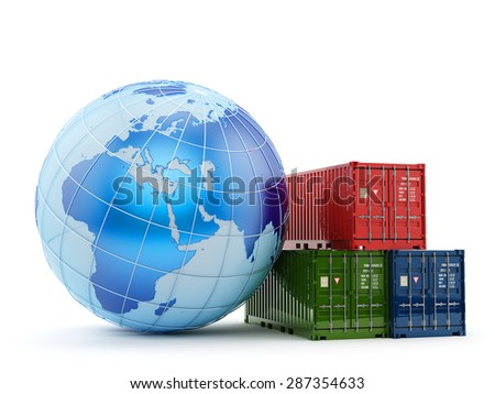 Logistics, shipping and freight transportation business concept, stack of multicolored cargo containers near the Earth globe isolated on white background - stock photo