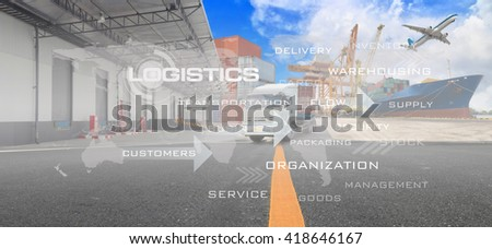 Logistics supply chain on screen with Industrial Container Cargo freight ship in shipyard  for Logistic Import Export background (Elements of this image furnished by NASA) - stock photo