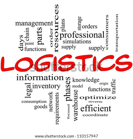 Logistics Word Cloud Concept in red and black with great terms such as resources, goods, supply, optimize, model, orders, network and more - stock photo