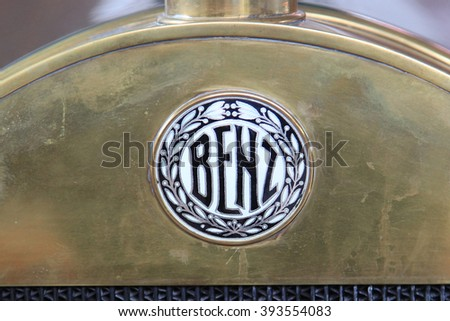 """Logo """"Benz 8/20 Sport"""" 1912 year - the exposure of the Moscow museum of retro cars - March 2016 - stock photo"""