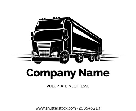 Logo cargo truck for the firm, company or corporation - stock photo